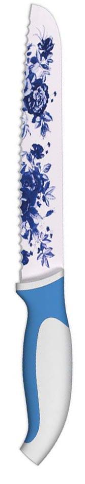 Нож для хлеба Ладомир, с антибактериальным покрытием, цвет: белый, синий, 20 см888210_желтыйНож для нарезки хлеба Ладомир изготовлен из высокоуглеродистой нержавеющей стали с цветным антибактериальным покрытием, выполненным под гжель. Рукоять изготовлена из высококачественного пищевого цветного пластика с прорезиненными вставками. Очень удобная и эргономичная ручка не позволит выскользнуть ножу из вашей руки. Удобный нож поможет вам легко нарезать хлебобулочные изделия, не сминая их и не кроша середину. Такой нож займет достойное место среди аксессуаров на вашей кухне. Особенности ножа Ладомир: - материал лезвия - высокоуглеродистая нержавеющая сталь с антибактериальным покрытием соответствует ГОСТ 1050-88; - твердость по Роквеллу - HRC 58; - оптимальный угол заточки (23°) - в 2,7 раза увеличивает износостойкость лезвия. Характеристики:Материал: сталь, пластик. Общая длина ножа: 32,5 см. Длина лезвия: 20 см. Производитель: Китай. Артикул: К3ВСР20.