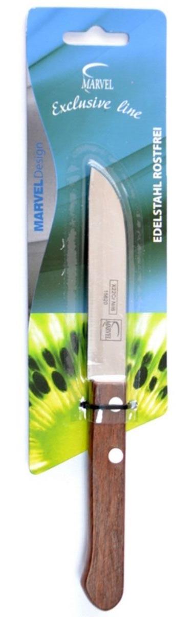 Нож кухонный Marvel Econom, длина лезвия 9 смDO-1104Кухонный нож Marvel Econom - незаменимый помощник на вашей кухне. Лезвие, изготовленное из стали, более стойкое к воздействию кислот, содержащихся в продуктах, более гигиенично и не подвержено коррозии. Кроме того, лезвие из стали сохраняет остроту дольше, чем другие ножи. Легкая, отлично сбалансированная и приятная на ощупь рукоятка удобна в использовании. Общая длина ножа: 18,5 см.