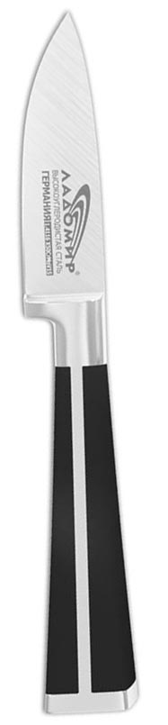 Нож овощной Ладомир, длина лезвия 8 см. В3ЕСК08863040Овощной нож Ладомир изготовлен из высокоуглеродистой кованой нержавеющей немецкой стали марки 1.4116 X50СrМoV15 (хром-молибден-ванадий). Твердость лезвия составляет 58 ед. по шкале С. Роквелла. Оптимальный угол заточки (23°) - в 2,7 раза увеличивает износостойкость лезвия. Очень удобная и эргономичная рукоятка, изготовленная из бакелита и стали, не позволяет скользить ножу в руках и обеспечивает безопасность при нарезке продуктов. Рукоять также оснащена цельнокованым антибактериальным больстером, который служит для защиты места сопряжения клинка с рукоятью. Овощной нож подойдет для нарезки и чистки любых овощей и фруктов, мяса без костей, рыбы и других продуктов.Такой нож займет достойное место среди аксессуаров на вашей кухне. Характеристики:Материал: нержавеющая сталь, бакелит. Общая длина ножа: 19 см. Длина лезвия: 8 см. Артикул: В3ЕСК08.