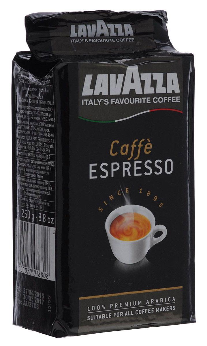 Lavazza Caffe Espresso кофе молотый, 250 г (в/у)0120710Lavazza Caffe Espresso изготовлен из стопроцентной арабики высшего сорта, завезенной из Центральной Америки и Африки. Кофе обладает крепким,насыщенным вкусом и пряным ароматом.