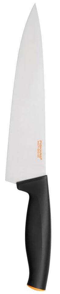 Поварской нож Fiskars, с широким лезвием, в чехле, 20 см1014197Поварской нож Fiskars прекрасно подойдет для шинковки овощей и нарезки мяса.Особенности ножа:Высокое качество: безопасность, прочность, гигиеничностьФункциональность: легко использовать, мыть и хранитьПривлекательный дизайнВысококачественная сталь и заточка обеспечивают остроту лезвияДлинное лезвие запрессовано в рукояткуСовременный и очень удобный дизайн рукояткиУлучшенный материал рукоятки: SoftGrip, улучшена устойчивость к мытью в посудомоечной машине.В комплекте чехол для хранения.