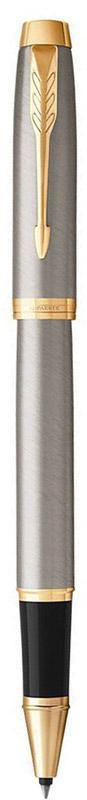 Parker Ручка-роллер IM Brushed Metal GTB905489Марка Parker гарантирует полную уверенность в превосходном качестве товара. Ручка-роллер Parker IM Brushed Metal GT будет не только долго служить, но и неизменно радовать удобством и легкостью письма, надежностью в эксплуатации и прекрасным эстетическим исполнением. Ручка-роллер Parker IM Brushed Metal GT выполнена в лакированном корпусе из отшлифованного металла с круговой полировкой. Позолоченная отделка деталей выполнена с полировкой. Форма ручки - круглая. Ручка-роллер Parker IM Brushed Metal GT аккуратно упакована в выдвижной футляр.