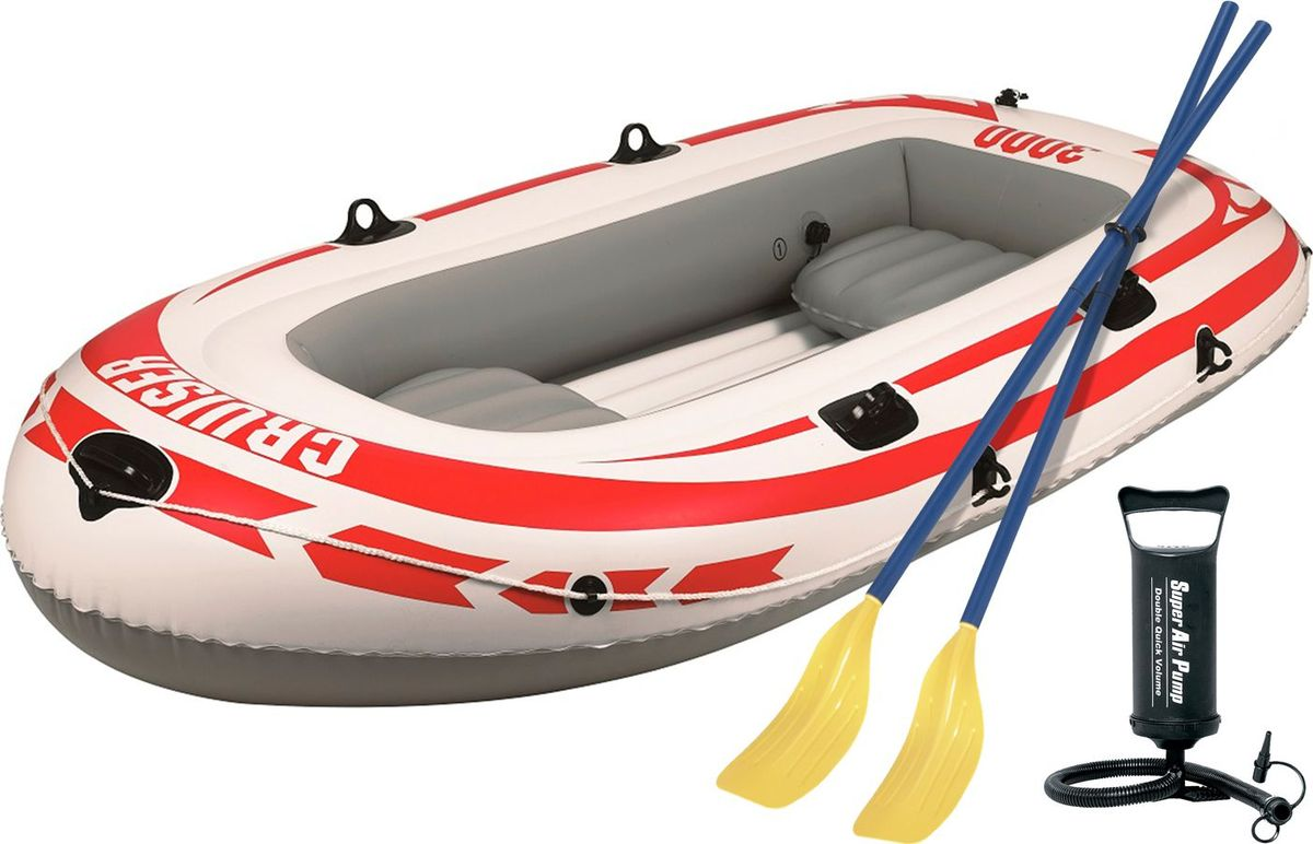 Лодка надувная Jilong Cruiser Boat CB3000SET, с веслами и насосом, цвет: серый, 252 х 125 х 40 смJL007008-4NЛодка надувная Jilong Cruiser Boat CB3000SET с веслами и насосом, вмещает 2 взрослых и 1 ребенка.Характеристики: Максимальная нагрузка - 265 кгТип: гребная- Количество мест - 2+1- Длина лодки - 252 см- Вес лодки - 6,8 кг- Материал - армированный ПВХ- 2-х камерная конструкция лодки для большей безопасности- Пластиковые весла- Ручной насос- Надувной пол- Двухуровневые сидения- Крепление для весел - Держатели для весел- Стропа по периметру лодки- Сиденье: надувное- Самоклеящаяся заплатка в комплекте