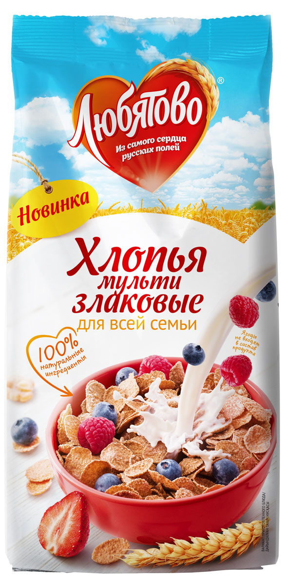 Любятово хлопья мультизлаковые, 250 г0120710Легкие здоровые продукты для современных людей.