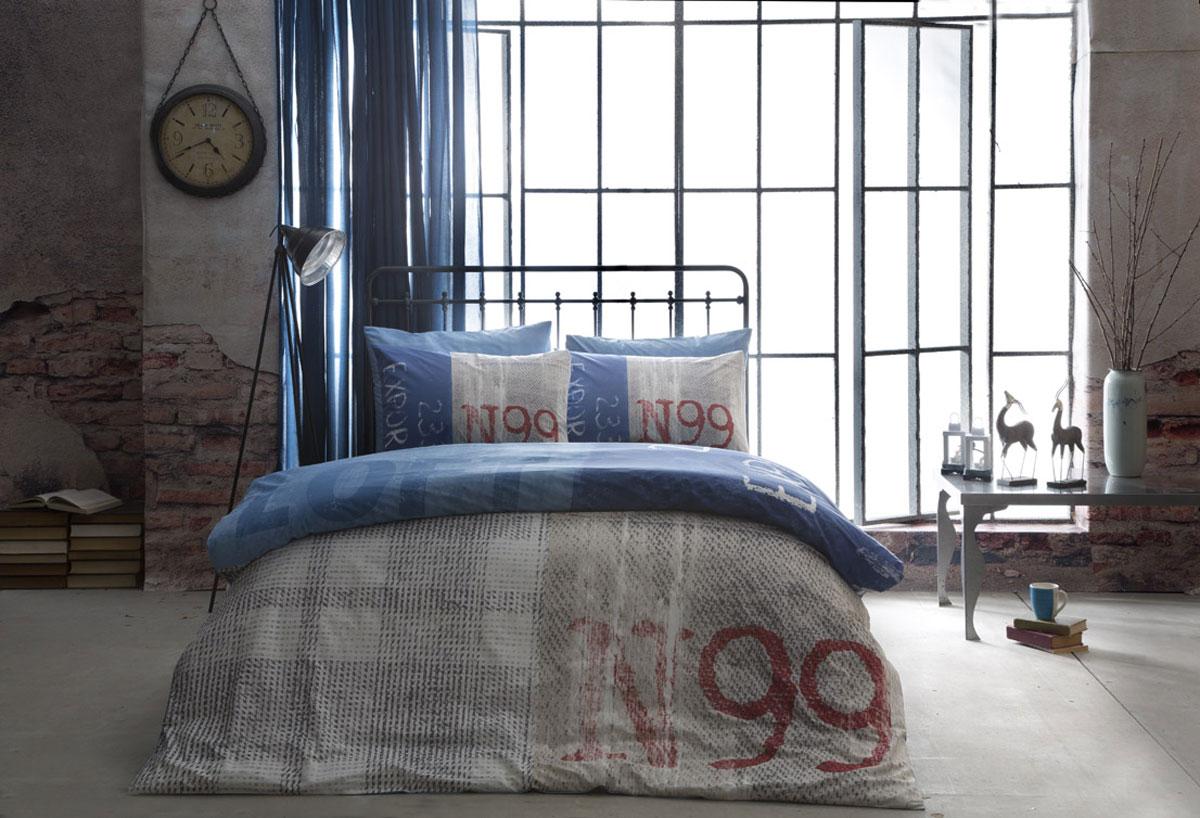 Комплект белья TAC Ranforce. Loft, семейный, наволочки 50х70, цвет: синийES-412Эталон сатина в России. Фирменные яркие дизайны Pano на нежной шелковистой фактуре сатиновой ткани из экологичного хлопка. Сатин - гладкая и прочная ткань, которая своим блеском, легкостью и гладкостью похожа на шелк, но выгодно отличается от него в цене. Сатин практически не мнется, поэтому его можно не гладить. Ко всему прочему, он весьма практичен, т.к. хорошо переносит множественные стирки. Если вы ценитель эстетики и практичности одновременно, безусловно, сатин для вас!