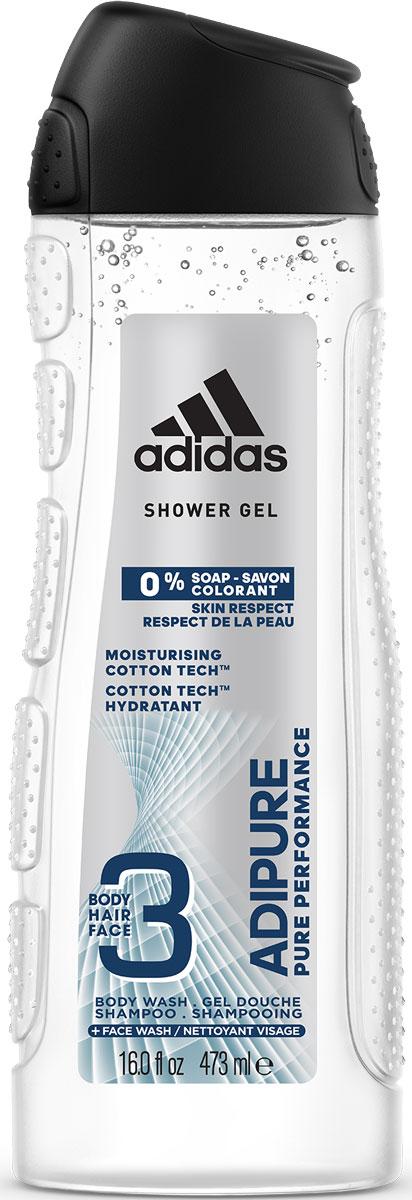 Adidas Гель для душа и шампунь Adipure мужской, 250 мл72523WDГель для душа Adipure со специальной формулой для чистой эффективности и ухода за кожей. Гель для душа adipure обеспечивает бережное очищение и ощущение свежести. Для мягкой и увлажненной кожи.Формула:0% мыла;0% красителей;Ph сбалансирован.Содержит комплекс cotton-tech с увлажняющими компонентами и экстрактом хлопка. Абсорбирующая технология. 0% солей алюминия. Чистая эффективность. Прозрачная текстура.