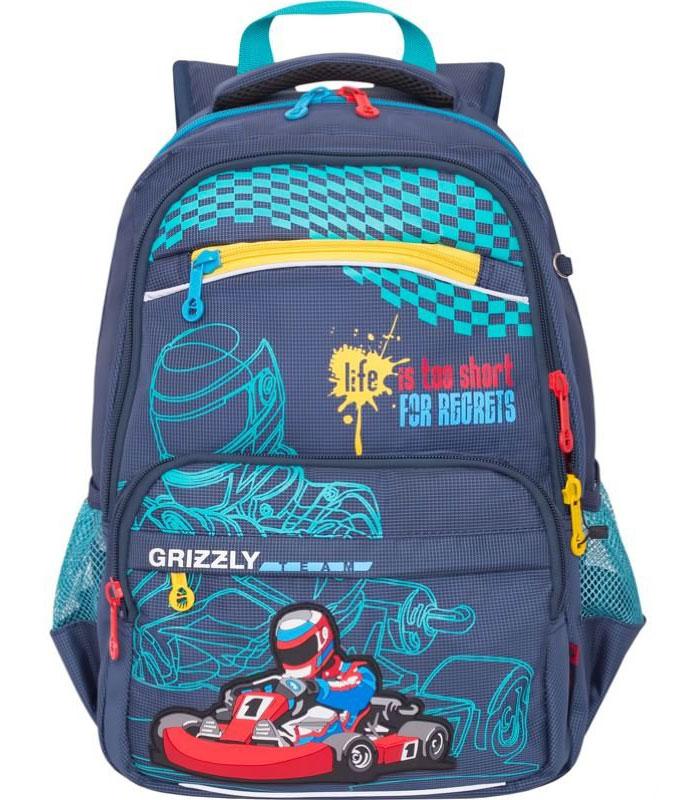 Grizzly Ранец школьный цвет синий72523WDШкольный ранец Grizzly - это красивый и удобный ранец, который подойдет всем, кто хочет разнообразить свои школьные будни. Ранец выполнен из плотного нейлона с покрытием из водонепроницаемого материала и оформлен оригинальным изображением спортивной машины.Ранец имеет два основных вместительных отделения на застежках-молниях с двумя бегунками и пять наружных кармашков с обратной стороны. В наибольшем отделении расположены две мягкие перегородки для тетрадей и учебников. Во втором отделении имеются два сетчатых кармана - открытый и на молнии, карман под мобильный телефон, четыре кармашка для канцелярских принадлежностей и лента с карабином для ключей.Ранец имеет удобную ручку для переноски.Широкие регулируемые лямки и сетчатые мягкие вставки на спинке ранца предохранят мышцы спины ребенка от перенапряжения при длительном ношении. Высота посадки лямок может регулироваться благодаря специальным приспособлениям на спинке ранца.Прочное дно с пластиковыми ножками обеспечивает ранцу хорошую устойчивость. Светоотражающие элементы обеспечивают дополнительную безопасность в темное время суток.Многофункциональный школьный ранец станет незаменимым спутником вашего ребенка в походах за знаниями.