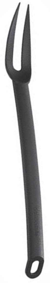 Вилка для мяса Tescoma Space Line, цвет: черный, длина 31,5 см54 009312Вилка для мяса Tescoma Space Line выполнена из термостойкого нейлона, который выдерживает температуру до 210°C. Это прекрасное функциональное изделие, удобное для разделывания мясных блюд и подходит для всех видов посуды, а также для посуды с антипригарным покрытием, так как не повреждает ее поверхность. Вилка оснащена эргономичной ручкой, которая не скользит в руках и делает ее использование удобным и безопасным. Ручка снабжена специальным отверстием для подвешивания.Вилка для мяса Tescoma Space Line займет достойное место среди аксессуаров на вашей кухне.Можно мыть в посудомоечной машине.
