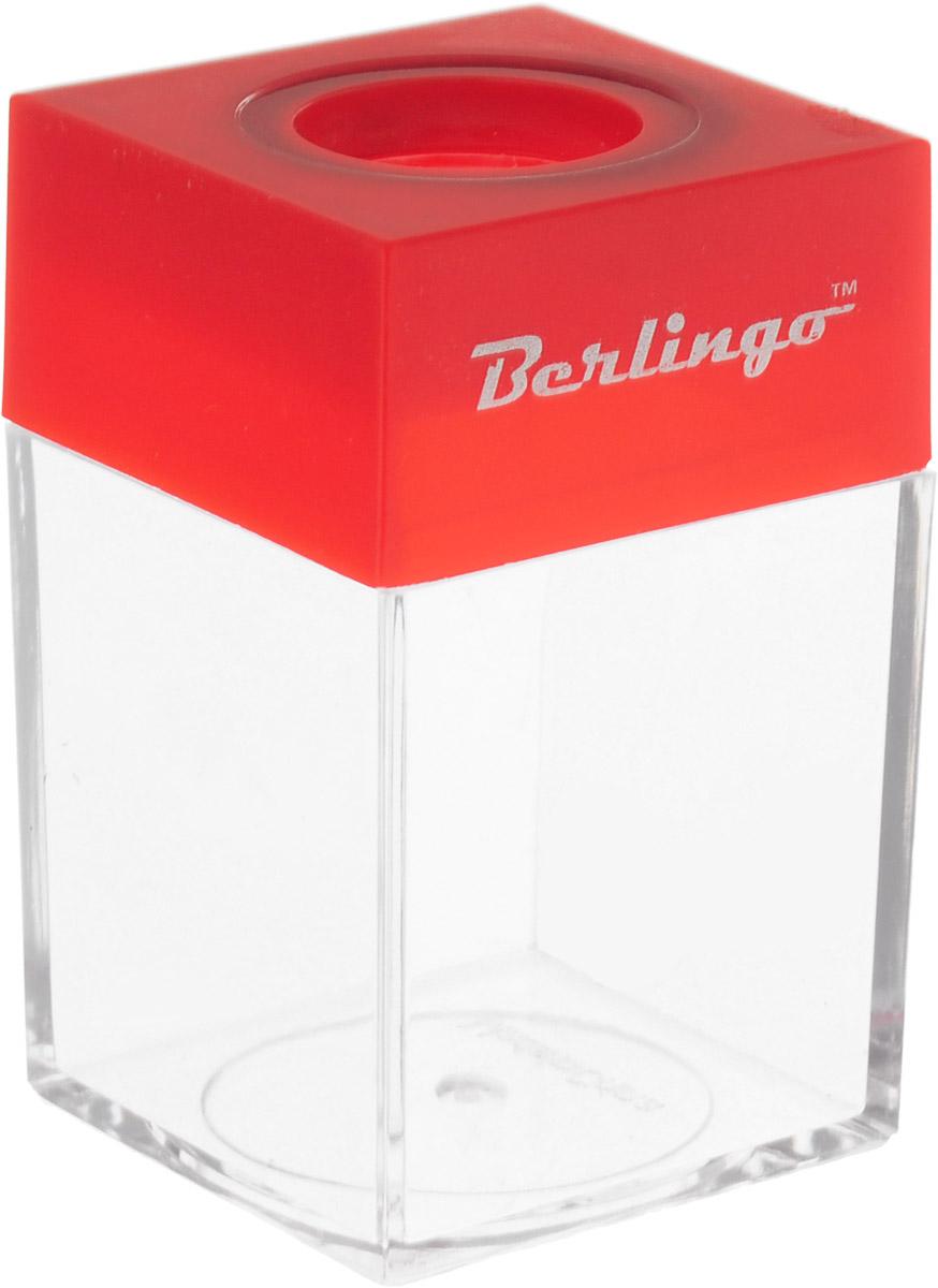 Диспенсер для скрепок Berlingo, магнитный, цвет: красныйDBd_00019_красныйДиспенсер для скрепок Berlingo, магнитный, цвет: красный