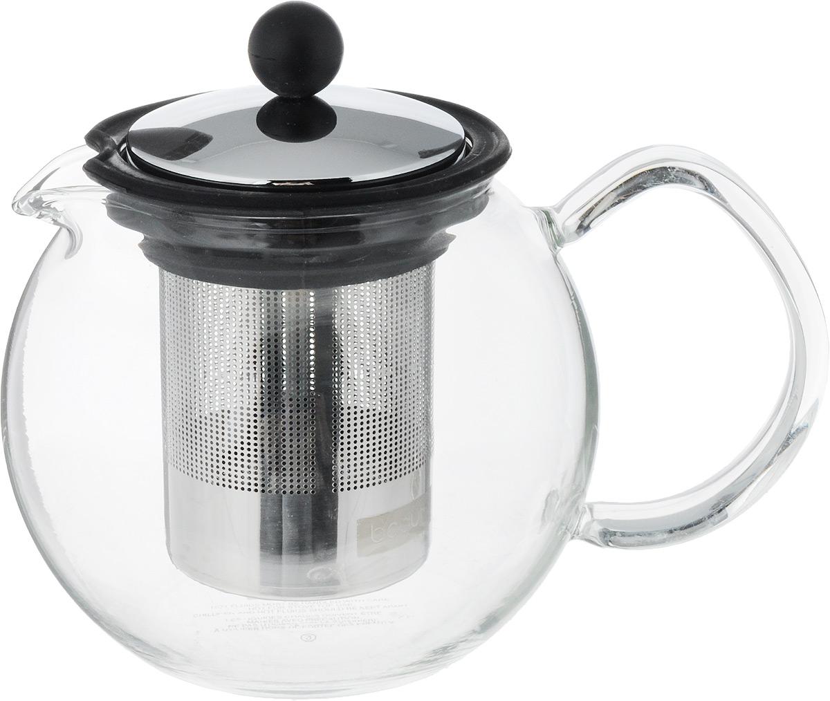 Чайник заварочный Assam, с фильтром, цвет: прозрачный, черный, 0,5 л115610Заварочный чайник Assam изготовлен из высококачественного пластика и жаропрочного стекла (до 100°С). Чайник имеет пластиковый фильтр с прессом и оснащен удобной ручкой. Он прекрасно подойдет для заваривания чая и травяных напитков.Такой заварочный чайник займет достойное место на вашей кухне.Высота чайника (без учета крышки): 11,5 см.Высота чайника (с учетом крышки): 13 см. Диаметр основания: 6,5 см.