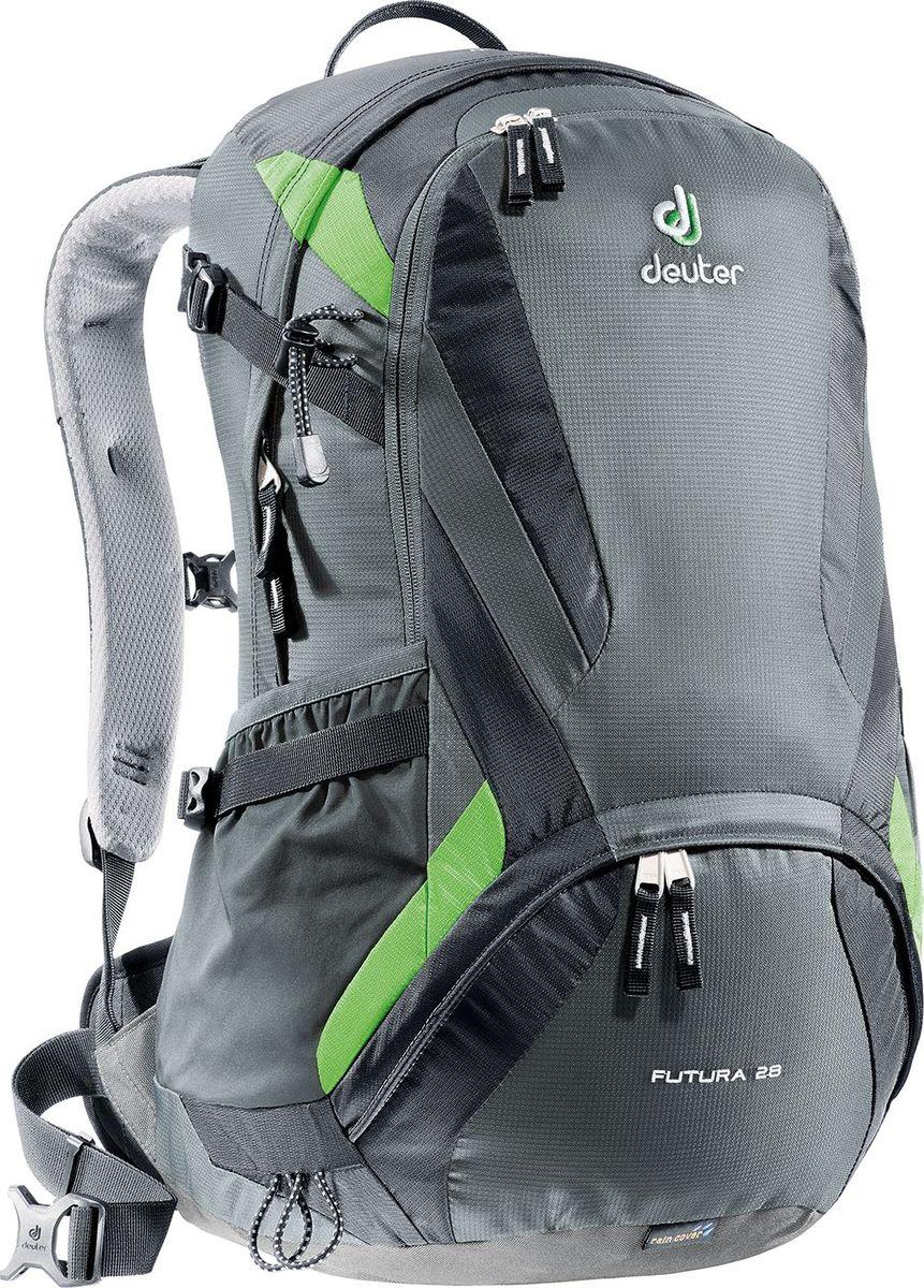 Рюкзак Deuter Futura, цвет: серый, 28 л34214_4700Эти ведущие модели среди лёгких рюкзаков Deuter сохранили свои плавные обводы, но теперь их цвета изменились: первоклассная функциональность сочетается с отличной системой вентиляции Aircomfort. Они отлично смотрятся и в офисе, и в магазине, и в однодневном походе.Особенности: - плечевые лямки из двухслойного поропласта со стабилизирующими ремнями; - боковые компрессионные ремни для регулирования объема; - практичный карман спереди; - боковые сетчатые карманы; - внутренний карман для мелких вещей; - отделение для мокрой одежды; - петли для телескопических палок Вес (кг.): 1.3 Объем (л): 28 Размеры (см.): 53х34х26