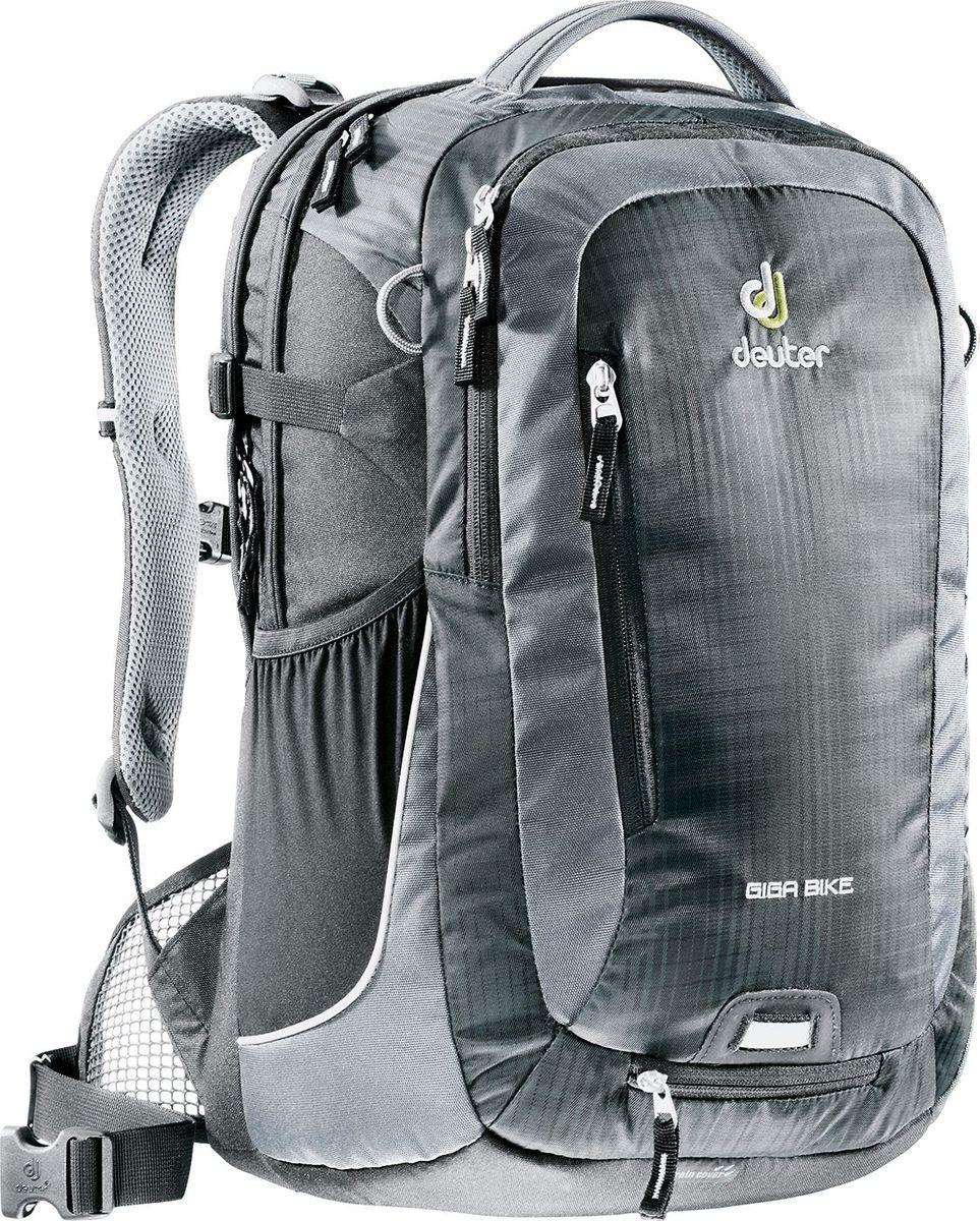 Рюкзак городской Deuter Giga Bike, цвет: серый, черный, 28 л332515-2800Городской рюкзак Deuter Giga Bike объединяет в себе качества офисного и велосипедного рюкзака. Сверхпрочный, хорошо организованный рюкзак разработан специально для людей, которые регулярно ездят в школу, университет или в офис. Для любитель быстрой езды, рюкзак для велосипеда снабжен набедренным поясом для плотного прилегания к спине.- система спинки Airstripes и сетчатые крылья набедренного пояса- большое основное отделение, в котором помещаются папки для бумаг- дно имеет мягкую подкладку- компрессионные стропы- съемный держатель шлема- удобная ручка для переноски- большой передний карман на молнии с органайзером- съемный набедренный ремень- петля с отражателем- второе основное отделение под ноутбук 17 дюймов- боковой сетчатый карман- съемный чехол от дождя яркого цвета- отражатели 3М- стабилизирующие ремни