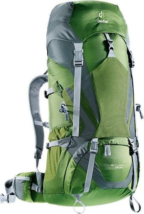 Рюкзак туристический Deuter ACT Lite, цвет: серый, хаки, 65+10 л4340115_2480Надежный вместительный рюкзак Deuter ACT Lite для путешествий и экспедиций: Совершенная подвеска с комфортной спинкой, прямой доступ в основное отделение – сочетание комфорта и функциональности. Благодаря подвижным набедренным крыльям Vari Flex, системе спинки Vari Quick и каркасу X-Frames, одна и та же система подвески подходит к любым грузам от средних до тяжёлых, оставаясь устойчивой, гибкой и эффективно распределяющей нагрузку. Система Aircontact с продуманной эргономичной системой подушек спинки очень хорошо сидит на спине и обеспечивает отличную вентиляцию со всех сторон.- экономия энергии и комфорт, благодаря анатомическому подвижному набедренному поясу Vari Flex, отслеживающему любое ваше движение- компрессионные ремни на набедренных крыльях для точной регулировки положения груза- поясная застёжка Pull-Forward легко регулируется даже под тяжёлым грузом- прочный сотовый алюминиевый X-образный каркас передает нагрузку на набедренный пояс- благодаря специальному покрою верхней части рюкзака и возможности регулировать положение верхнего клапана, обеспечивается свободное движение головы- три боковых компрессионных ремня - боковые карманы со складками, питьевая система, карман на молнии в набедренном поясе- карман в верхнем клапане- большой внутренний карман на молнии- две цепочки петель daisy chain для навески снаряжения- петли на верхнем клапане для крепления дополнительных грузов- петля для ледоруба- боковые карманы для стоек палатки - двухслойное дно- карманы на молнии для карт сбоку