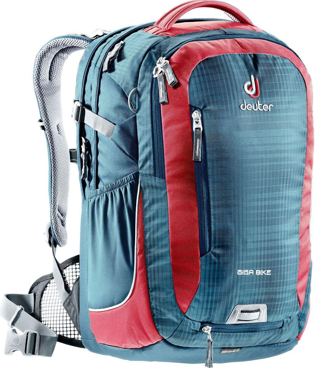 Рюкзак городской Deuter Giga Bike, цвет: красный, темно-синий, 32 лГризли- Просторное второе отделение под ноутбук 17,3 дюймов- спинка Airstripes для великолепной вентиляции- очень комфортные, эргономичные, мягкие плечевые лямки- главное отделение размером папки для бумаг- большой передний карман с органайзером- съемный карабинчик для ключей- передний карман на молнии- дно имеет мягкую подкладку- утягивающие компрессионные стропы- удобная ручка для переноски- съемный поясной ремень- нагрудная стропа с плавной регулировкой- эластичные боковые карманы- фиксатор для габаритного фонарика с отражателем 3МВес: 1030 гОбъем: 32 лРазмеры: 47 x 35 x 27 смОтсек для ноутбука: 41 x 30 x 5 смМатериал: Super-Polytex.