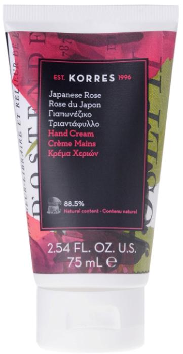 Korres Увлажняющий крем для рук Японская роза, 75 мл520306906363384,8% натуральных ингредиентов. Увлажняющие кремы для рук с самыми популярными ароматами линии по уходу за телом KORRES. Прекрасное дополнительное средство ухода к гелю для душа, молочку и крему для тела. Крем эффективно увлажняет и смягчает кожу рук, а так же укрепляет ногтевую пластину. Обладает питательными и заживляющими свойствами. Невесомая текстура крема легко распределяется и приятно тает на коже, мгновенно впитывается не оставляя ощущения жирности.
