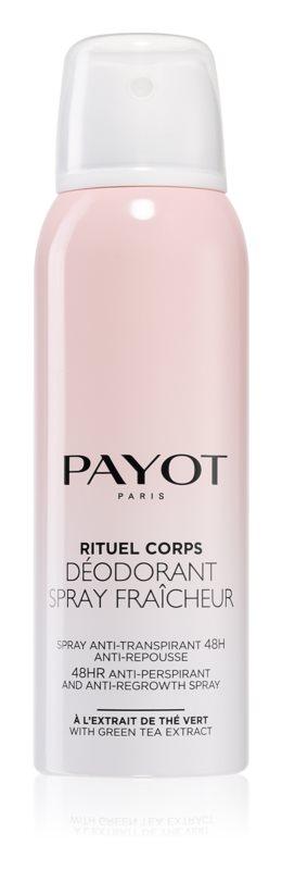 Payot Corps Освежающий антиперспирант 48 – часового действия, замедляющий рост волос, 125 млFS-00897Спрей-дезодорант освежает и заряжает энергией и замедляет рост волос. Защищает от неприятного запаха на протяжении 48 часов. Украшает кожу: благодаря тончайшим перламутровым частицам. Деликатно ароматизирует кожу.