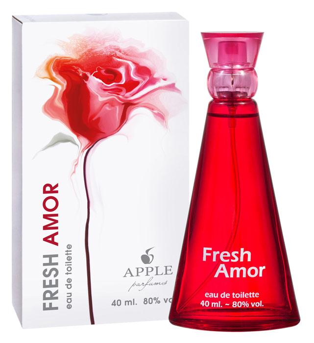 Apple Parfums Туалетная вода Fresh Amor женская 40ml65998237000Начальные ноты:апельсин, бергамот, грейпфрут, кассия, мандарин, черная смородина. Ноты сердца:абрикос, жасмин, ландыш, лилия, роза. Базовые ноты:амбра, бобы тонка, ваниль, кедр, мускус