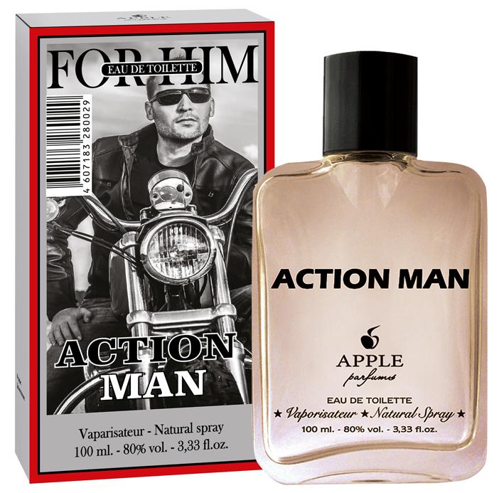 Apple Parfums Туалетная вода Univers Action Man мужская 100ml28032022Начальные ноты:грейпфрут, зеленый чай, лаванда. Ноты сердца:ветивер, бергамот, кедр, шалфей, герань, розмарин. Базовые ноты:мускус, дубовый мох, ваниль