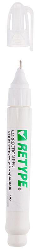 Retype Корректирующий карандаш 7 мл PE071-03222057Корректирующий карандаш Retype с металлическим наконечником применяется для точечных и мелких исправлений. Подходит для любого типа бумаги и чернил. Металлический наконечник обеспечивает оптимальную подачу корректирующей жидкости. Быстро сохнет, легко наносится. Не содержит вредных и токсичных элементов, не вызывает аллергических реакций.
