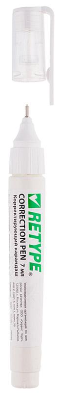 Retype Корректирующий карандаш 7 мл PS072-11PS072-11Корректирующий карандаш Retype с металлическим наконечником применяется для точечных и мелких исправлений. Подходит для любого типа бумаги и чернил. Металлический наконечник обеспечивает оптимальную подачу корректирующей жидкости. Быстро сохнет, легко наносится. Не содержит вредных и токсичных элементов, не вызывает аллергических реакций.