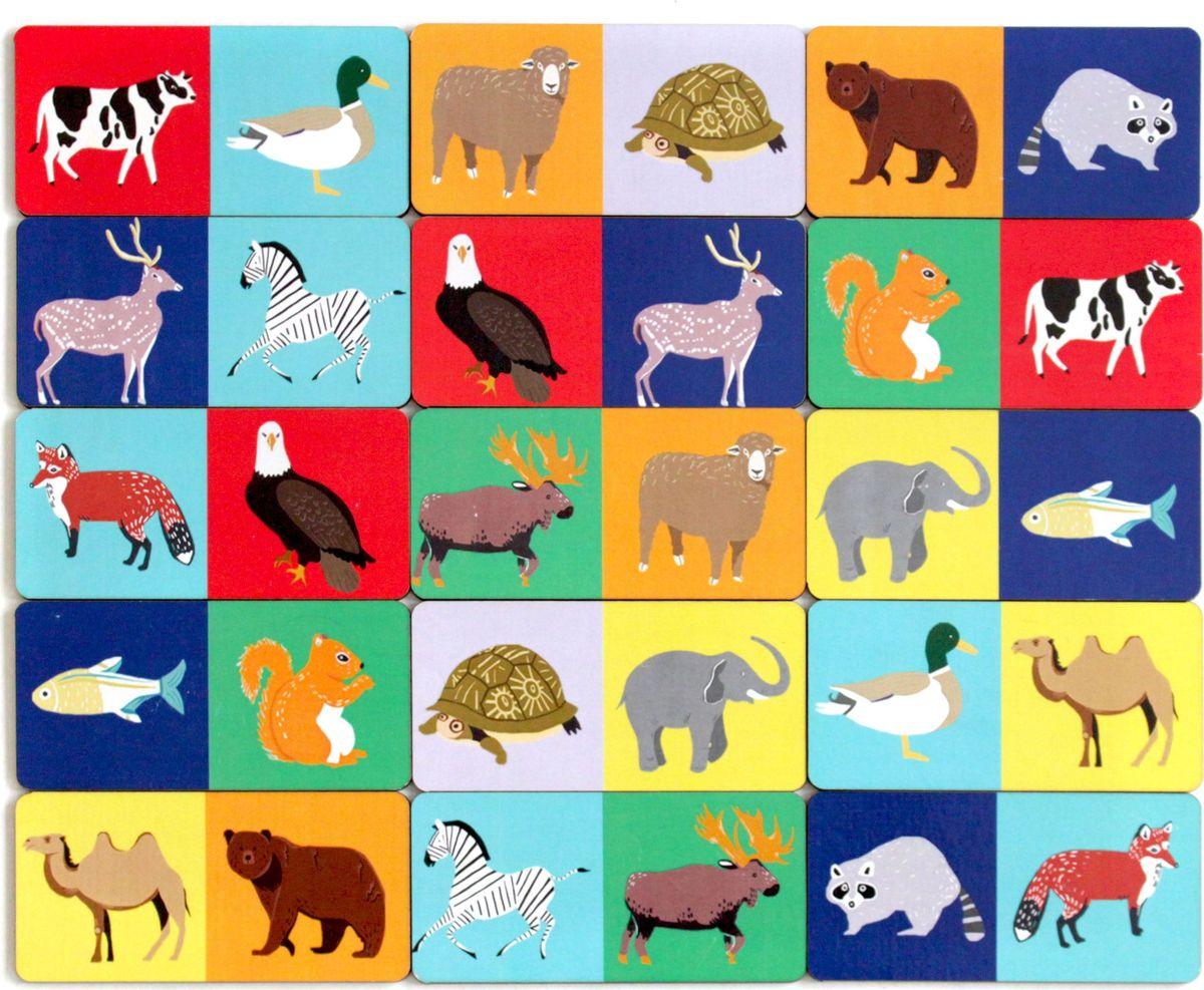 Игрушки Тимбергрупп Обучающая игра Домино Животные домино маленький полиглот игрушки и животные