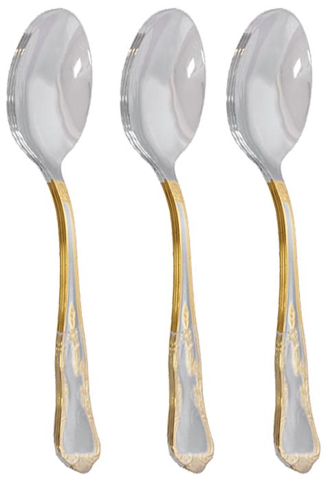 Набор столовых ложек Samba-2 Gold, 3 шт115510Набор столовых ложек Samba-2 Gold состоит из 3 предметов, выполненных в элегантном стиле с изящными ручками и блеском полировки. Ручки ложек оформлены фигурной штамповкой с золотой отделкой. Сервировка праздничного стола таким набором станет великолепным украшением любого торжества.Характеристики: Длина прибора: 20 см. Материал:нержавеющая сталь. Производитель:Португалия. Артикул:02040030400M03.Столовые приборы фирмы Herdmar популярны во всем мире не только благодаря дизайну и функциональности, но и высочайшему качеству. Самое яркое впечатление от работ Herdmar это - ощущение целостности, уравновешенности, гармонии его произведений и совершенства их форм. Основной характеристикой столовых приборов фирмы Herdmar является сохранение внешнего вида и качества полировки при многократном использовании. Благодаря разнообразному дизайну и комплектациям столовых приборов диапазон цен довольно велик. Таким образом, существует возможность подобрать как комплекты для повседневного пользования в умеренном ценовом сегменте, так и специальные наборы в подарочной упаковке под красное дерево.