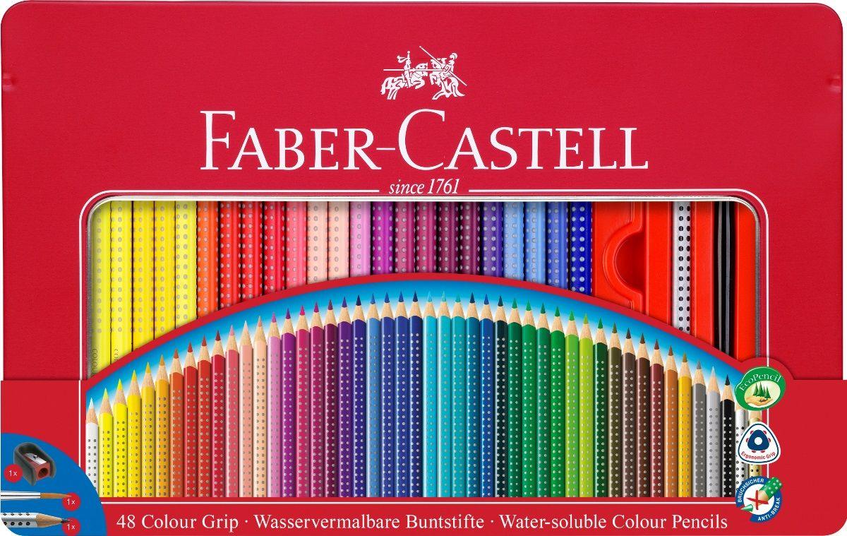 Faber-Castell Набор цветных карандашей Grip 2001 48 цветов + Карандаш чернографитовый + кисточка + точилка112448Faber-Castell Grip 2001 - карандаши наивысшего качества эргономичной трехгранной формы.В наборе 48 ярких, насыщенных цветов, чернографитовый карандаш, кисточка и точилка. Каждый карандаш имеет размываемый водой грифель и специальное место для написания имени. Все цветные карандаши имеют запатентованную Grip антискользящую зону захвата с малыми массажными шашечками.Специальная SV технология вклеивания грифеля предотвращает поломку при падении на пол. Корпус покрыт лаком на водной основе - бережным по отношению к окружающей среде и здоровью детей.Каждый карандаш изготовлен из качественного, мягкого дерева (калифорнийский кедр) - гарантия легкого затачивания при помощи стандартных точилок. Набор карандашей отстирывается от большинства тканей.