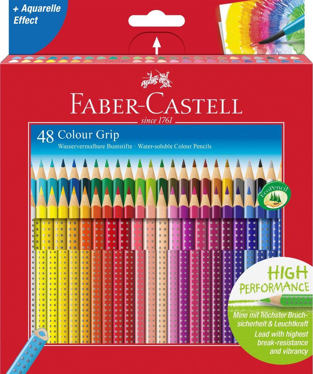 Faber-Castell Набор цветных карандашей Grip 2001 48 цветов72523WDFaber-Castell Grip 2001 - карандаши наивысшего качества эргономичной трехгранной формы.В наборе 48 ярких, насыщенных цветов. Каждый карандаш имеет размываемый водой грифель и специальное место для написания имени. Все цветные карандаши имеют запатентованную Grip антискользящую зону захвата с малыми массажными шашечками.Специальная SV технология вклеивания грифеля предотвращает поломку при падении на пол. Корпус покрыт лаком на водной основе - бережным по отношению к окружающей среде и здоровью детей.Каждый карандаш изготовлен из качественного, мягкого дерева (калифорнийский кедр) - гарантия легкого затачивания при помощи стандартных точилок. Набор карандашей отстирываются от большинства тканей.