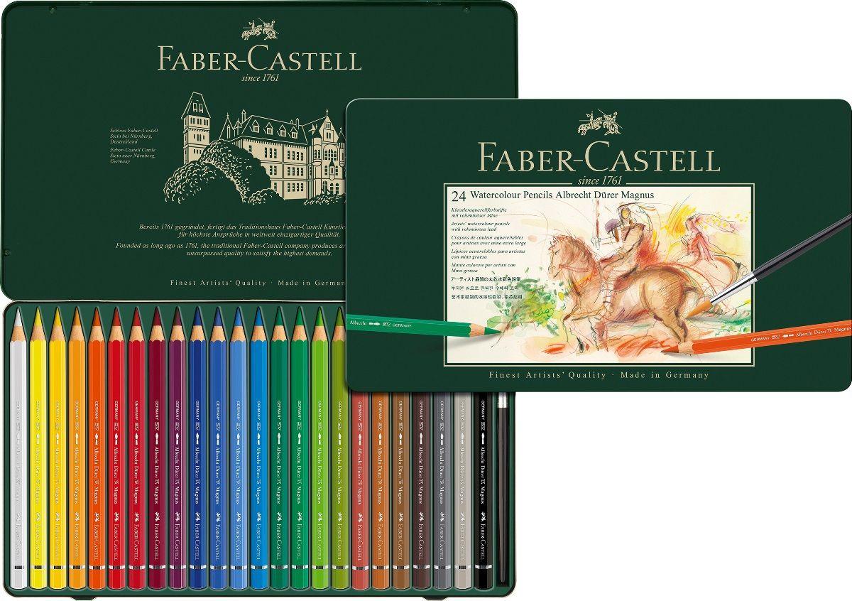 Faber-Castell Набор цветных акварельных карандашей Albrecht Durer 24 цвета72523WD акварельные карандашинаивысшего качества толстый грифель толщиной 3,8 мм(5,3 мм для версии Magnus) высококачественные пигменты гарантируютустойчивость к выцветанию, выразительныйцвет