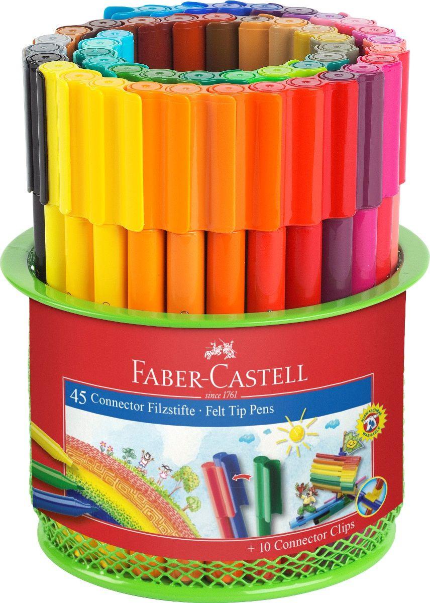 Faber-Castell Набор фломастеров Connector 45 цветовFS-36054 специальная металлическая корзина,содержащая 45 фломастеров Connector10 клипов для соединения