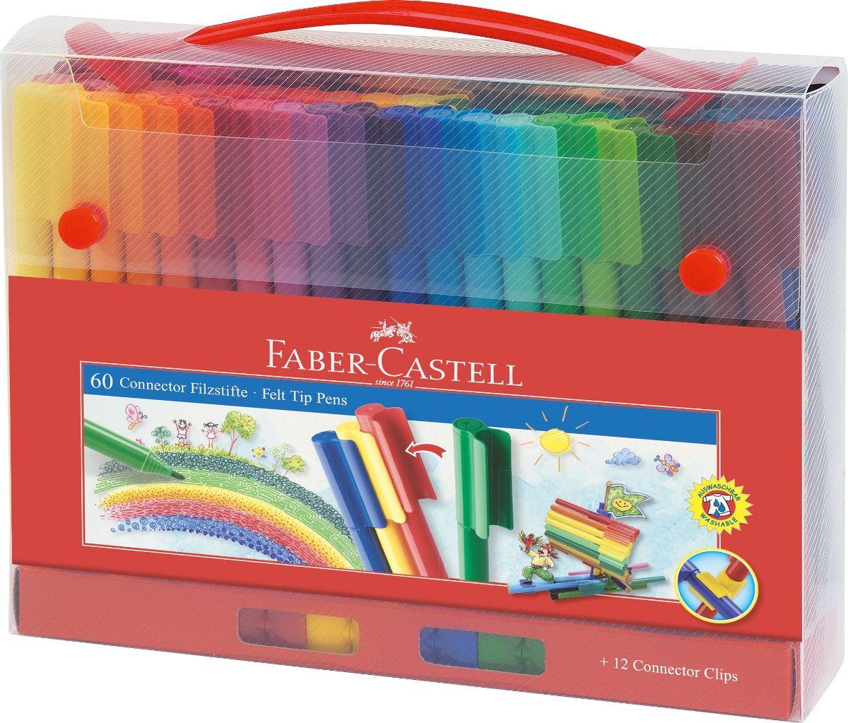 Faber-Castell Набор фломастеров Connector 60 цветовFS-36055 набор в пластиковом пенале содержит 60фломастеров Connector, 12 клипов для соединения