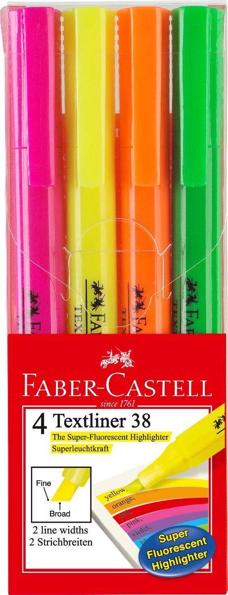 Faber-Castell Текстовыделитель 38 4 цвета157704Текстовыделитель Faber-Castell станет незаменимым предметом, как на столе школьника, так и студента.Изделие имеет привлекательный полупрозрачный дизайн. Он идеален для всех видов бумаги. Чернила на водной основе.Линия маркировки шириной 5, 2 или 1 мм.В упаковке четыре текстовыделителя.