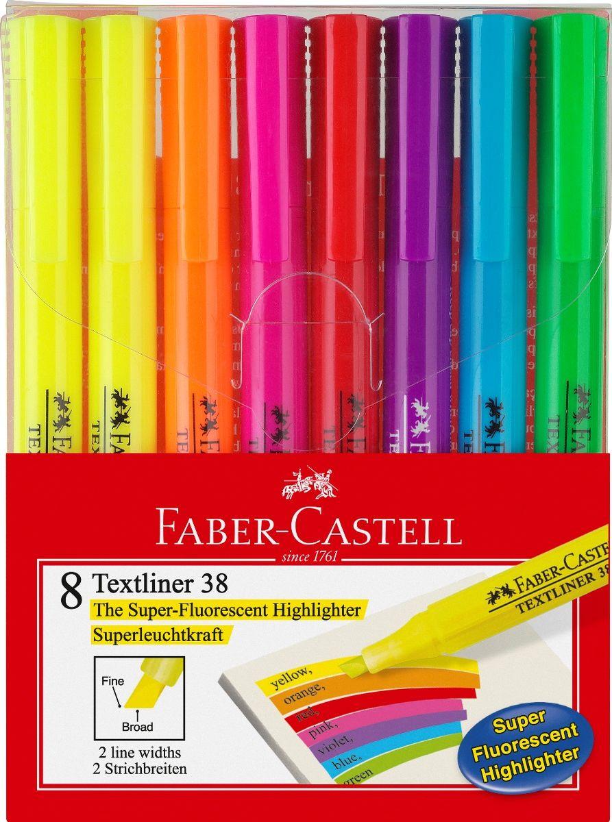 Faber-Castell Текстовыделитель 38 8 цветовC13S041944Текстовыделитель Faber-Castell станет незаменимым предметом, как на столе школьника, так и студента.Изделие имеет привлекательный полупрозрачный дизайн. Он идеален для всех видов бумаги. Чернила на водной основе.Линия маркировки шириной 5, 2 или 1 мм.В упаковке восемь текстовыделителей.