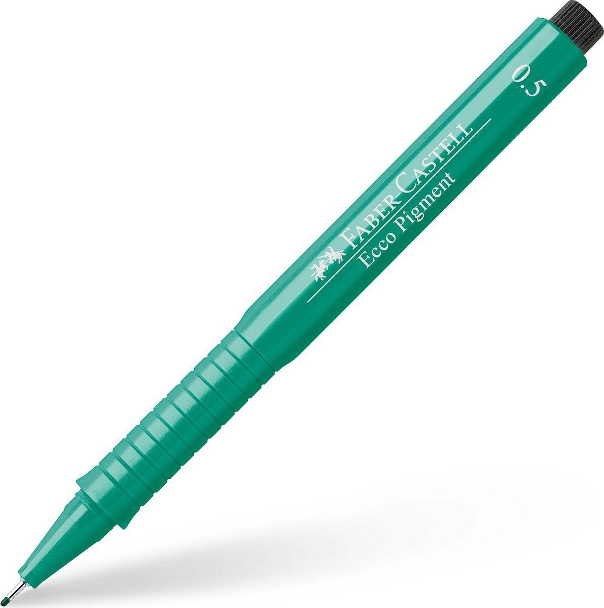 Faber-Castell Ручка капиллярная Ecco Pigment цвет зеленый 10 шт 166563C13S041944 идеальны для письма, рисования, набросков пигментные черные чернила водо- и светоустойчивые позволяют рисование с линейкой и по шаблону длинный кончик с металлическим корпусом эргономичная область захвата металлический клип 9 типов толщины линии