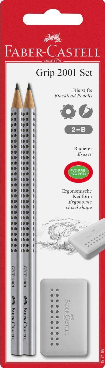 Faber-Castell Набор чернографитовых карандашей Grip 2001 с ластиком 2 шт187199 ластик наивысшего качества без ПВХ заостренный край для удобного стирания не оставляет следов