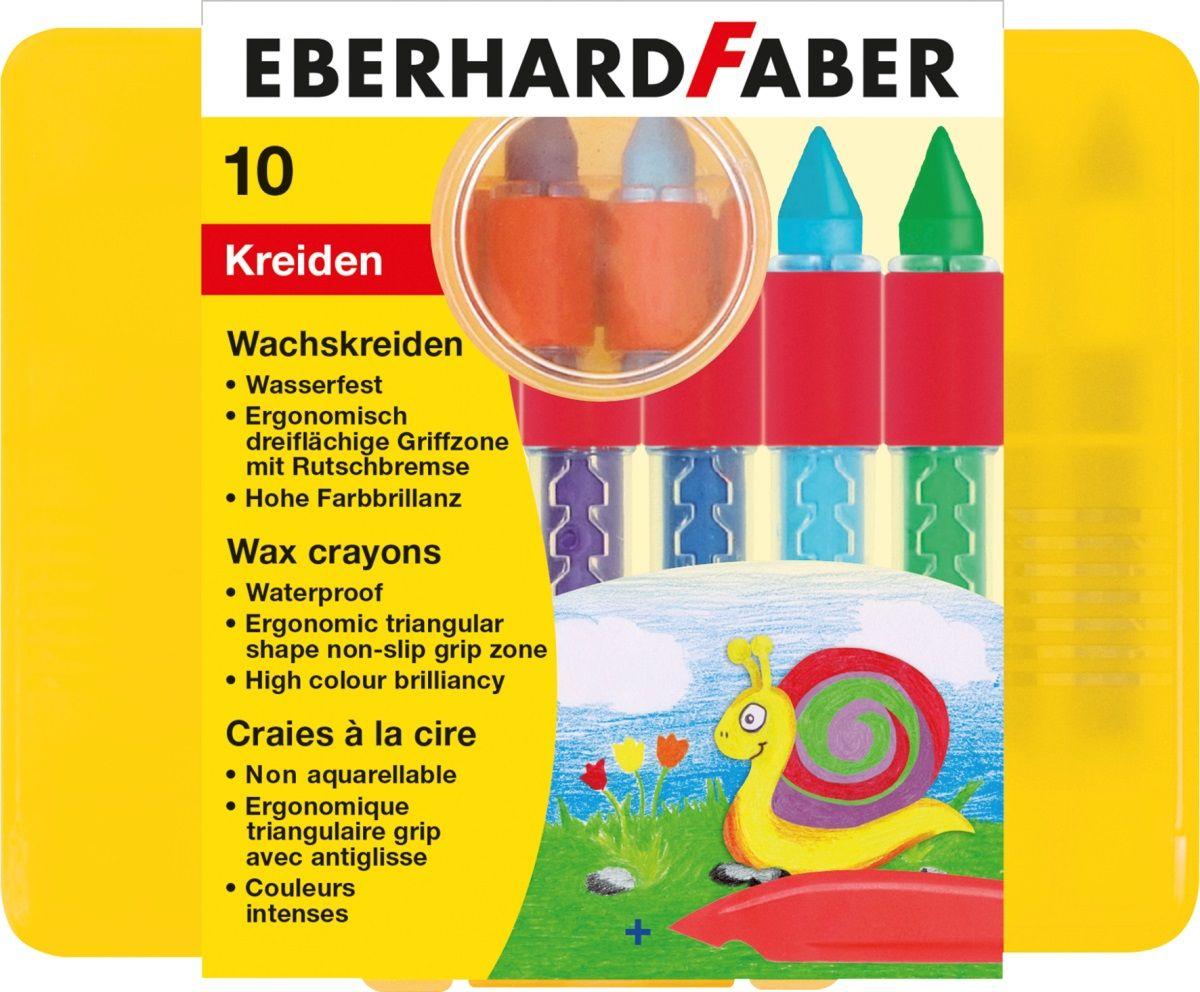 Eberhard Faber Мелки восковые трехгранные водостойкие 10 цветов 521010FS-00897Восковые мелки Eberhard Faber позволят развить у ребенка абстрактное мышление, а также помогут проявить его творческие способности.Трёхгранная форма мелка позволяет использовать различные техники при нанесении рисунка и прорисовывать мельчайшие детали.Водостойкие.В набор входят 10 мелков различных цветов.