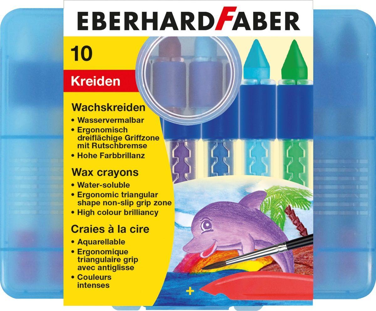 Eberhard Faber Мелки восковые трехгранные водорастворимые 10 цветов7800Восковые мелки Eberhard Faber позволят развить у ребенка абстрактное мышление, а также помогут проявить его творческие способности.Трёхгранная форма мелка позволяет использовать различные техники при нанесении рисунка и прорисовывать мельчайшие детали.Размываются водой.В набор входят 10 мелков различных цветов.