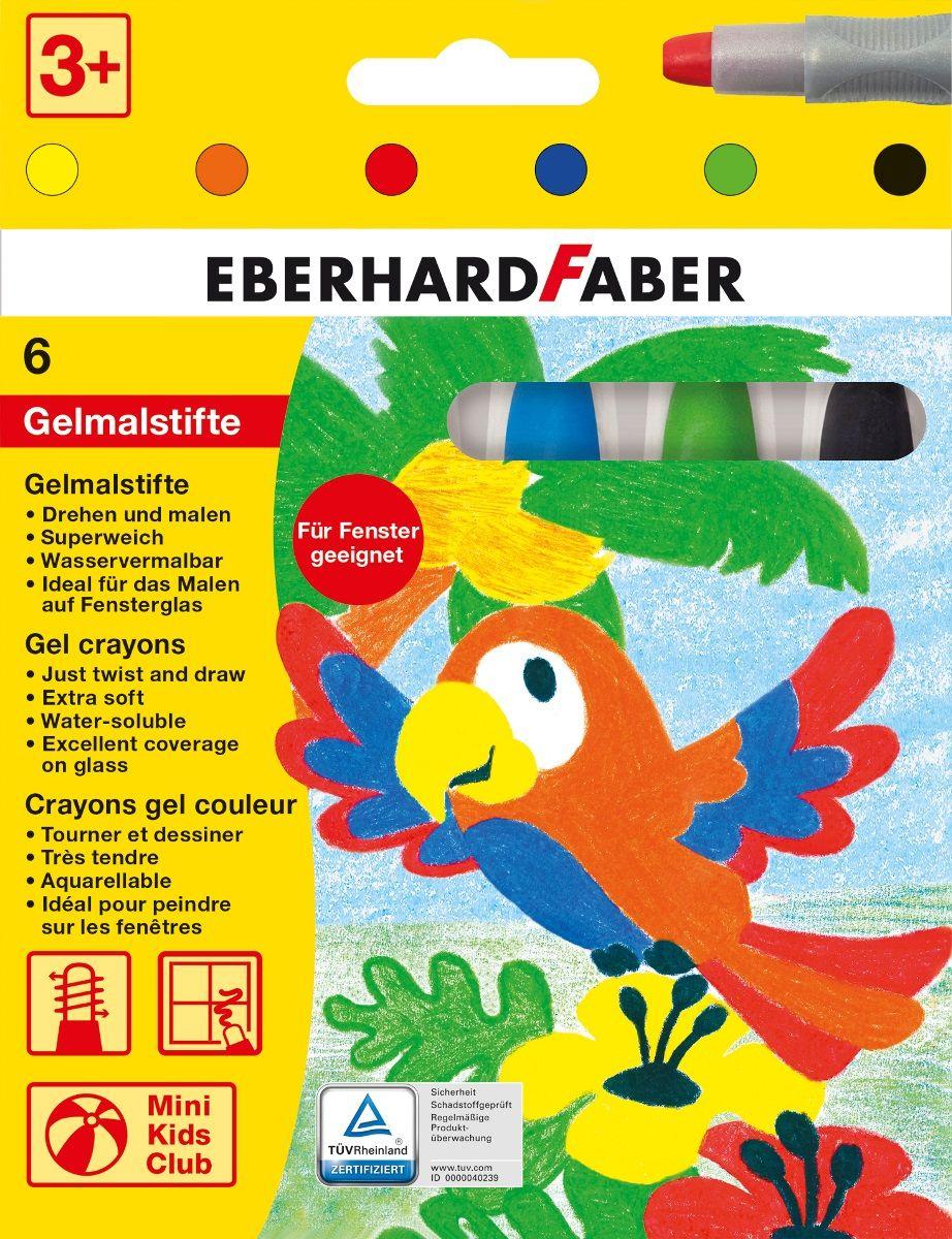 Eberhard Faber Набор гелевых маркеров 6 цветов1050514Набор гелевых маркеров Eberhard Faber - уникальный продукт, отличающийся ярким, насыщенным цветом, повышенной мягкостью. Специальный поворотный механизм дозированно подает гелевый мелок, а пластиковый корпус защищает его от поломок.