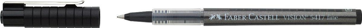 Faber-Castell Ручка-роллер Vision 5417 черная 10 шт72523WD высококачественные, не выцветающиепигментные чернила, соответствующиесертификату DIN ISO 14145/2 равномерное письмо благодаря системе плавнойдозировки чернил пригоден для письма на документах окошко для проверки уровня чернил шариковый тонкий наконечник 0,4 мм3 цвета чернил