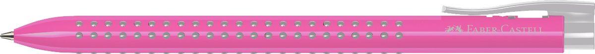Faber-Castell Ручка шариковая Grip 2022 цвет корпуса розовый72523WDШариковая ручка Faber-Castell Grip 2022 имеет запатентованную антискользящую зону захвата с малыми массажными шашечками. Эргономичная трехгранная форма, качественный нажимной механизм и упругий клип обеспечат комфорт при использовании ручки. Пригодна для письма на документах.Особенности: наконечник и выдвижнойколпачок наконечника из металла система, предотвращающая поломку грифеля оптимальная толщина грифеля 0,7 мм качественный, длинный, выдвижной ластик, защищенный колпачком система автоматической подачи грифеля