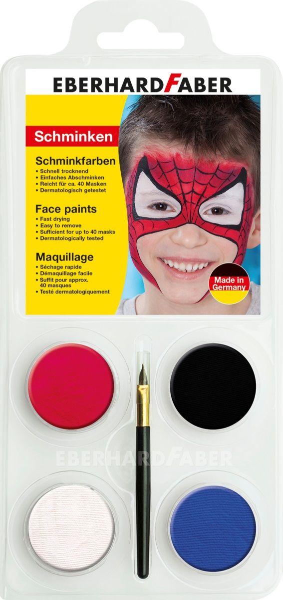 Eberhard Faber Аквагрим Человек-паук 4 цветаFS-00103Набор для аквагрима Eberhard Faber Человек-паук.Краски изготовлены на основе натуральных компонентов, абсолютно безопасны, не вызывают аллергии, подходят для лица и тела. Краски легко смешивается, образуя новые оттенки, быстро сохнут и после не пачкаются. На лицо краски наносятся кисточкой или губкой, идеально подходят для тонких контуров. Легко и быстро смываются водой и мылом.
