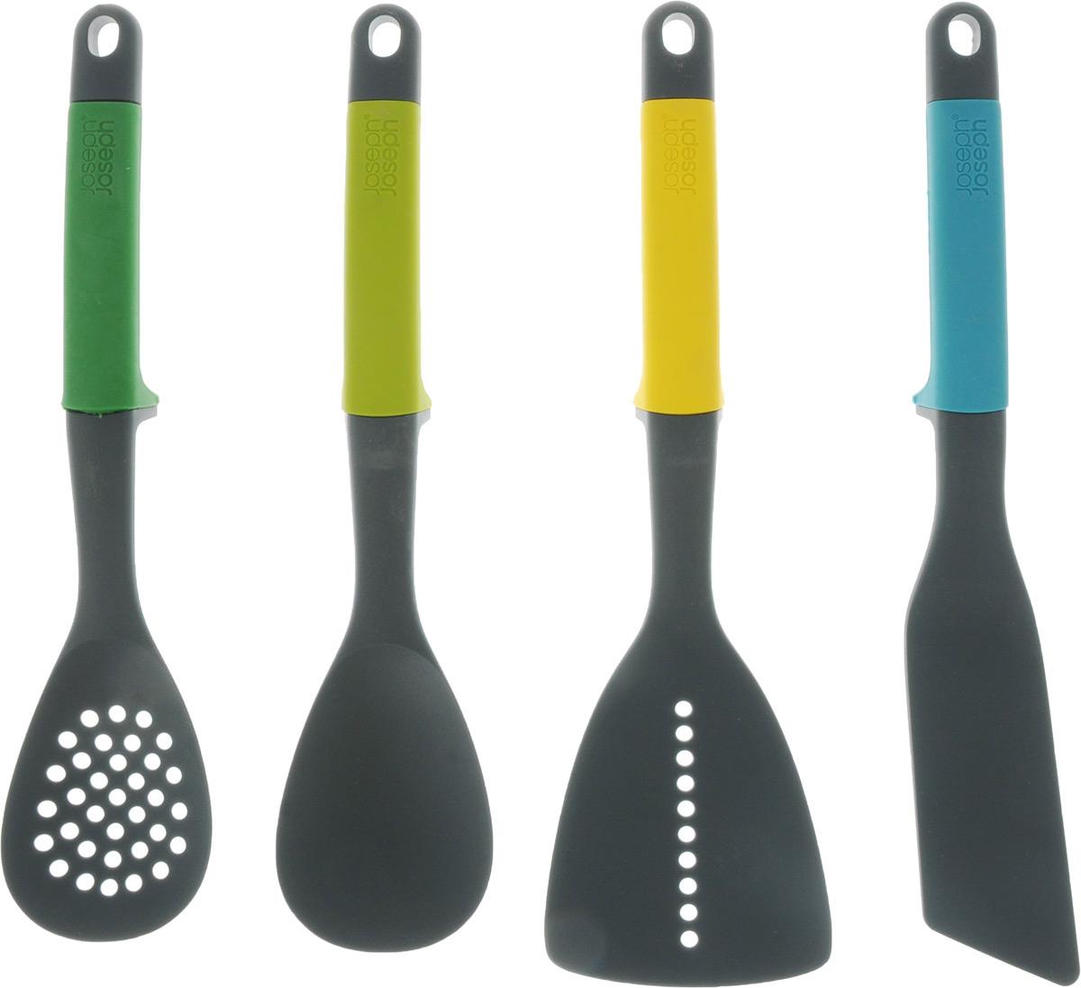 Набор кухонных предметов Joseph Joseph Elevate, 4 шт115610Набор кухонных приборов Joseph Joseph Elevate поможет в приготовлении ваших любимых блюд. В наборе: ложка, ложка для спагетти, ложка с прорезью, лопатка и лопатка-шумовка. Эргономичные цветные рукоятки дополнены отверстиями для подвешивания. Яркий набор станет оригинальным украшением кухонного интерьера.Можно мыть в посудомоечной машине. Приборы безопасны для посуды с антипригарным и тефлоновым покрытием. Длина приборов: 30,5 см.