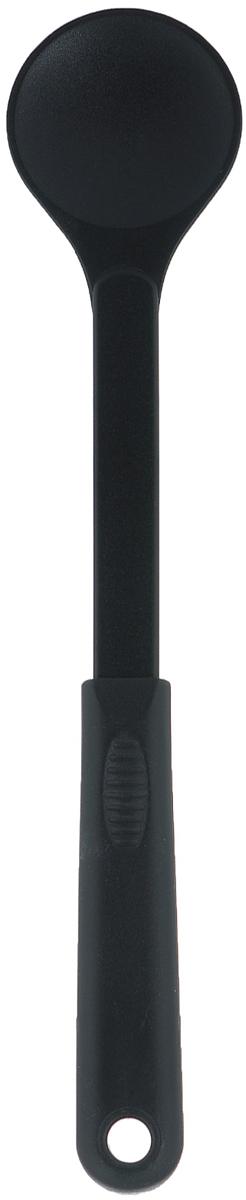 Ложка Tescoma Space Line, цвет: черный, длина 29 см638006Ложка Tescoma Space Line выполнена из термостойкого нейлона, который выдерживает температуру до 210°C. Такой ложкой удобно перемешивать, переворачивать блюда при жарке (например, стейки, отбивные или рыбу), а также раскладывать блюда на тарелки. Изделие подходит для всех видов посуды, а также для посуды с антипригарным покрытием, так как не повреждает ее поверхность. Ложка оснащена эргономичной ручкой, которая не скользит в руках и делает ее использование удобным и безопасным. Ручка снабжена специальным отверстием для подвешивания.Ложка Tescoma Space Line займет достойное место среди аксессуаров на вашей кухне.Можно мыть в посудомоечной машине.