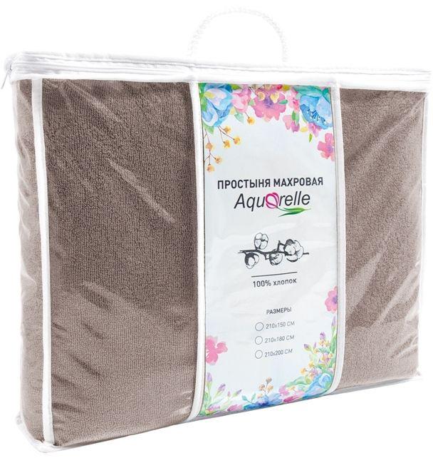 Простынь Aquarelle Комплимент, цвет: мокко, 210 х 150 смS03301004Махровые простыни ТМ Aquarelle универсальны - их можно использовать как замену одеяла летом, как простыню зимой, а также в качестве пледа, покрывала или даже большого банного полотенца.Преимущества махровых простыней: 1. Натуральность- используем только высококачественный 100% хлопок;2. Комфортность- ткань приятная по текстуре, мягкая и эластичная; 3. Массажный эффект – махровый ворс оказывает легкое массажное действие, которое успокаивает нервную систему и нормализует сон;4. Воздухопроницаемость- ткань хорошо пропускает воздух, позволяя коже дышать;5. Гигроскопичность- ткань хорошо впитывает влагу;6. Оптимальный температурный баланс: когда холодно махра надежно удерживает тепло, а когда тепло обеспечит комфорт за счет своих «дышащих» свойств. Для простыней ТМ Aquarelle выбрана плотность 400г/м2 и использована двойная крученая нить, что делает полотно ровным, гладким и снижает риск вытягивания петель