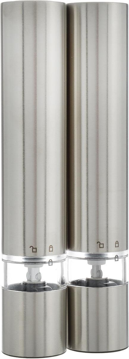 Набор мельниц для соли и перца Cole&Mason Chiswick, электрические, 2 штВетерок 2ГФНабор Cole&Mason Chiswick состоит из двух электрических мельниц, которые быстро и качественно перемелют любые специи. Изделия выполнены из высококачественной нержавеющей стали и керамики.Такие мельницы для специй не только красивы и удобны, но и обладают измельчающим механизмом, которые гарантируют первоклассный помол, дающий аромату приправы возможность раскрыться наиболее полно. Стильный и практичный набор мельниц Cole & Mason Chiswick станет незаменимым на вашей кухне.Изделие работает от 4 батареек типа ААА (в комплект не входят). Диаметр мельницы: 3 см; Высота мельницы: 17 см.