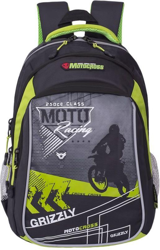 Grizzly Рюкзак цвет серый светло-зеленый RB-733-1/172523WDШкольный рюкзак Grizzly - это необходимый аксессуар для любого школьника. Рюкзак выполнен из плотного материала и оформлен оригинальным принтом с изображением мотоциклиста спереди.Рюкзак имеет два основных отделения, закрывающихся на застежки-молнии с двумя бегунками, а также вместительный накладной карман спереди. По бокам рюкзак дополнен двумя открытыми карманами-сетками. Внутри накладного кармана спереди располагается органайзер - карман-сетка на молнии, большой накладной карман и три маленьких накладных кармашка для канцелярских принадлежностей. Внутри одного основного отделения расположен укрепленный накладной карман для планшета, дополненный прорезным карманом на молнии. Второе отделение не имеет карманов. Рюкзак оснащен удобной текстильной ручкой для переноски в руке, петлей для подвешивания и светоотражающими вставками.Спинка дополнена эргономичными воздухопроницаемыми подушечками, которые обеспечивают удобство и комфорт при носке. Мягкие анатомические лямки скругленной формы регулируются по длине.Многофункциональный школьный рюкзак станет незаменимым спутником вашего ребенка в походах за знаниями.