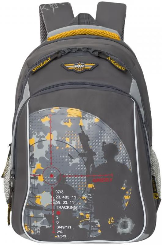 Grizzly Рюкзак цвет серый желтый RB-732-1/372523WDШкольный рюкзак Grizzly - это необходимый аксессуар для любого школьника. Рюкзак выполнен из плотного материала и оформлен оригинальным принтом с изображением снайперов спереди.Рюкзак имеет два основных отделения, закрывающихся на застежки-молнии с двумя бегунками, а также вместительный накладной карман спереди. По бокам рюкзак дополнен двумя открытыми карманами-сетками. Внутри накладного кармана спереди располагается органайзер - карман-сетка на молнии, большой накладной карман и три маленьких накладных кармашка для канцелярских принадлежностей. Внутри одного основного отделения расположен укрепленный накладной карман для планшета, дополненный прорезным карманом на молнии. Второе отделение не имеет карманов. Рюкзак оснащен удобной текстильной ручкой для переноски в руке, петлей для подвешивания и светоотражающими вставками.Спинка дополнена эргономичными воздухопроницаемыми подушечками, которые обеспечивают удобство и комфорт при носке. Мягкие анатомические лямки скругленной формы регулируются по длине.Многофункциональный школьный рюкзак станет незаменимым спутником вашего ребенка в походах за знаниями.