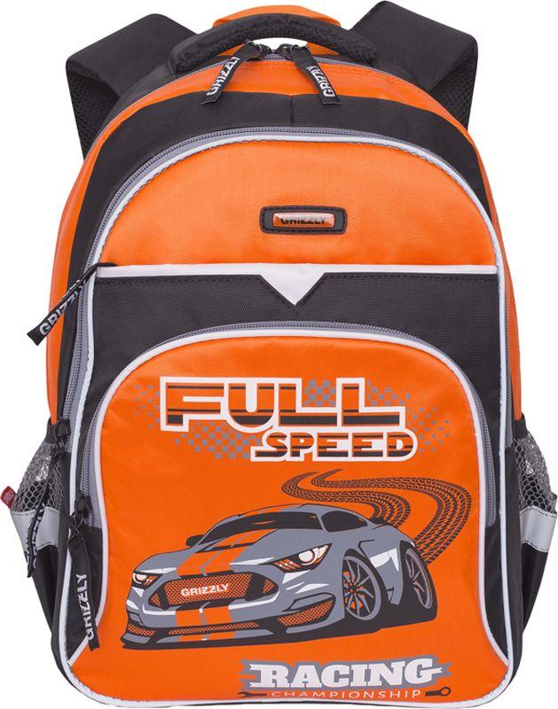 Grizzly Рюкзак цвет черный оранжевый RB-731-2/272523WDШкольный рюкзак Grizzly - это необходимый аксессуар для любого школьника. Рюкзак выполнен из плотного материала и оформлен оригинальным принтом спереди.Рюкзак имеет два основных отделения, закрывающихся на застежки-молнии с двумя бегунками, прорезной карман на застежке-молнии и вместительный накладной карман спереди. По бокам рюкзак дополнен двумя открытыми карманами-сетками. Внутри накладного кармана спереди располагается органайзер - карман-сетка на молнии и три маленьких накладных кармашка для канцелярских принадлежностей. Внутри одного основного отделения расположен пришивной карман на молнии. Второе отделение не имеет карманов. Рюкзак оснащен удобной текстильной ручкой для переноски в руке, петлей для подвешивания и светоотражающими вставками.Спинка дополнена эргономичными воздухопроницаемыми подушечками, которые обеспечивают удобство и комфорт при носке. Мягкие анатомические лямки скругленной формы регулируются по длине.Многофункциональный школьный рюкзак станет незаменимым спутником вашего ребенка в походах за знаниями.