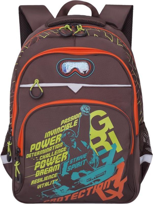 Grizzly Рюкзак цвет коричневый RB-731-1/172523WDШкольный рюкзак Grizzly - это необходимый аксессуар для любого школьника. Рюкзак выполнен из плотного материала и оформлен оригинальным принтом спереди.Рюкзак имеет два основных отделения, закрывающихся на застежки-молнии с двумя бегунками, прорезной карман на застежке-молнии и вместительный накладной карман спереди. По бокам рюкзак дополнен двумя открытыми карманами-сетками. Внутри накладного кармана спереди располагается органайзер - карман-сетка на молнии и три маленьких накладных кармашка для канцелярских принадлежностей. Внутри одного основного отделения расположен пришивной карман на молнии. Второе отделение не имеет карманов. Рюкзак оснащен удобной текстильной ручкой для переноски в руке, петлей для подвешивания и светоотражающими вставками.Спинка дополнена эргономичными воздухопроницаемыми подушечками, которые обеспечивают удобство и комфорт при носке. Мягкие анатомические лямки скругленной формы регулируются по длине.Многофункциональный школьный рюкзак станет незаменимым спутником вашего ребенка в походах за знаниями.