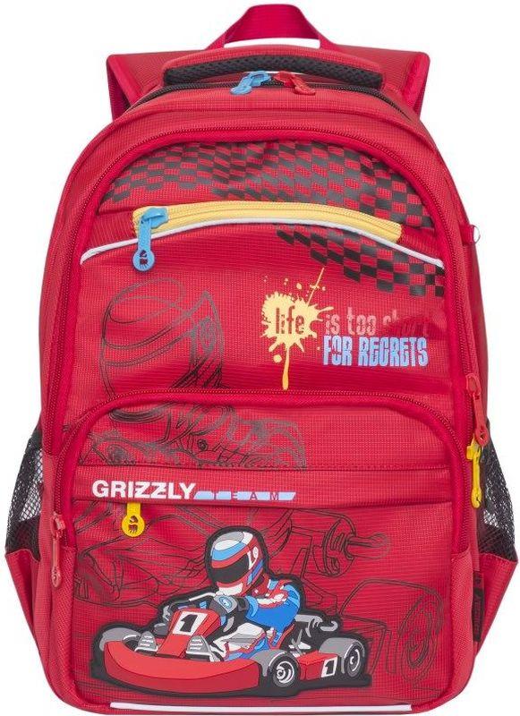 Grizzly Рюкзак цвет красный RB-732-2/4RB-732-2/4Школьный рюкзак Grizzly - это необходимый аксессуар для любого школьника. Рюкзак выполнен из плотного материала и оформлен оригинальным принтом спереди.Рюкзак имеет два основных отделения, закрывающихся на застежки-молнии с двумя бегунками, прорезной карман на застежке-молнии на малом отделении и небольшой накладной карман спереди, на котором также расположен прорезной карман на молнии. По бокам рюкзак дополнен двумя открытыми карманами-сетками.Внутри большого основного отделения расположен накладной открытый карман. Малое отделение не имеет карманов. Рюкзак оснащен удобной текстильной ручкой для переноски в руке, петлей для подвешивания и светоотражающими вставками.Спинка дополнена эргономичными воздухопроницаемыми подушечками, которые обеспечивают удобство и комфорт при носке. Мягкие анатомические лямки скругленной формы регулируются по длине.Многофункциональный школьный рюкзак станет незаменимым спутником вашего ребенка в походах за знаниями.